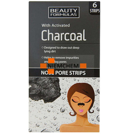 Beauty Formulas Charcoal Węglowe Plastry Oczyszczające Nos 6szt UK