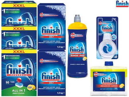 Finish Zestaw: All-in-1 Lemon Tabletki 3x90szt, Sól, Nabłyszczacz, Czyścik, Zapach