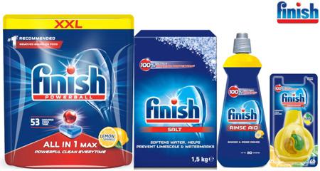 Finish Zestaw All in 1 Max Tabletki do Zmywarki 53szt Lemon, Sól, Nabłyszczacz, Zapach